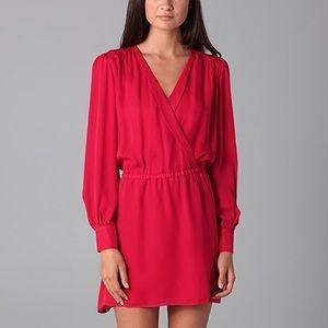 Parker red faux wrap silk cocktail dress